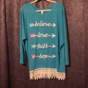 Turquoise Dolman Top with Lace Hem